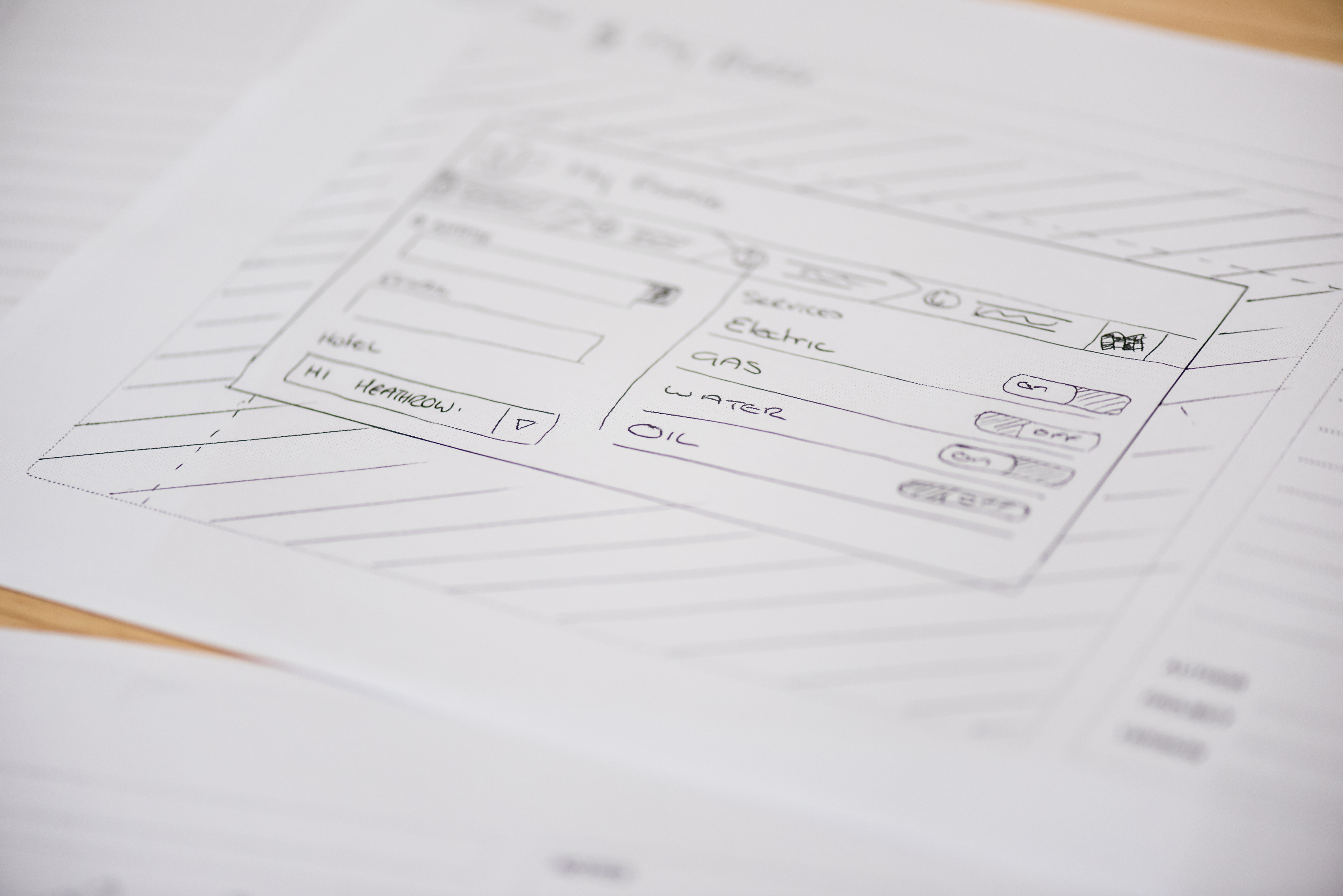 User experience hand-drawn wireframe