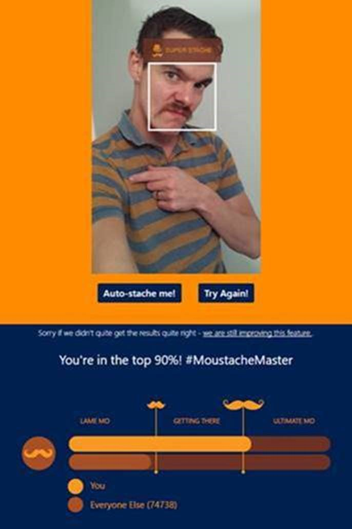 An application rating Dave's moustache - he's in the top 90%.