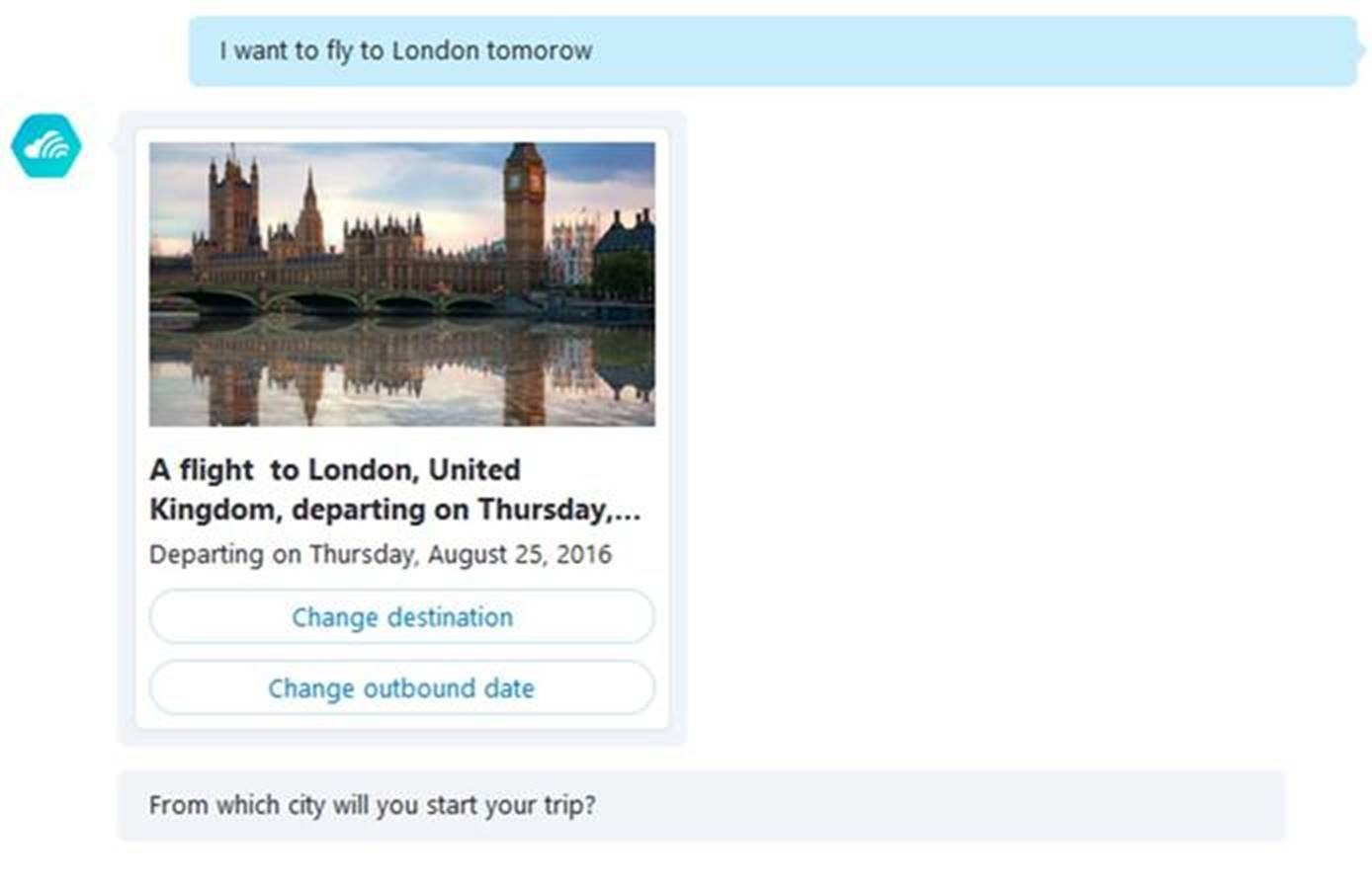 "The Skyscanner Bot, responding to ""I want to fly to London tomorrow"""