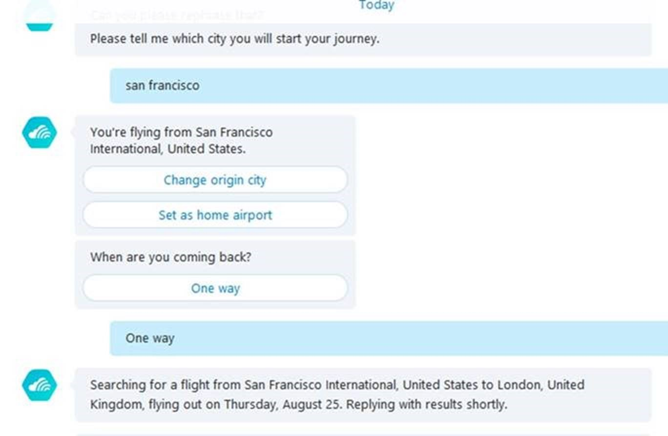 Skype Skyscanner Bot conversation asking about flights to San Francisco