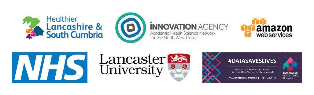 Logos, including NHS, Lancaster University & Amazon