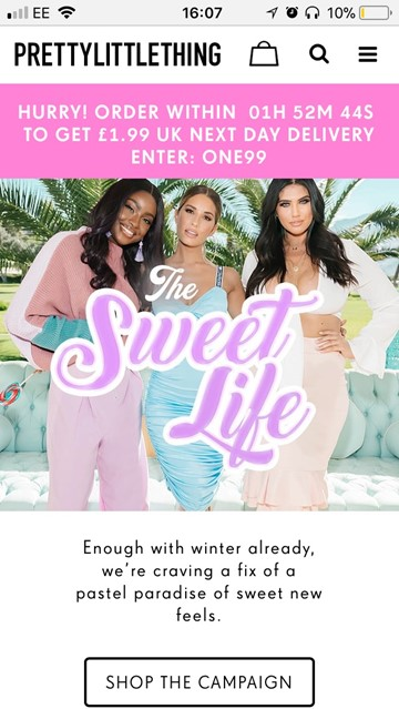 PrettyLittleThing Homepage with limited Next Day delivery offer