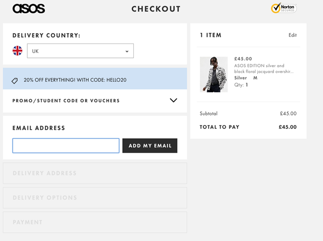 Example discount box hidden in ASOS checkout process