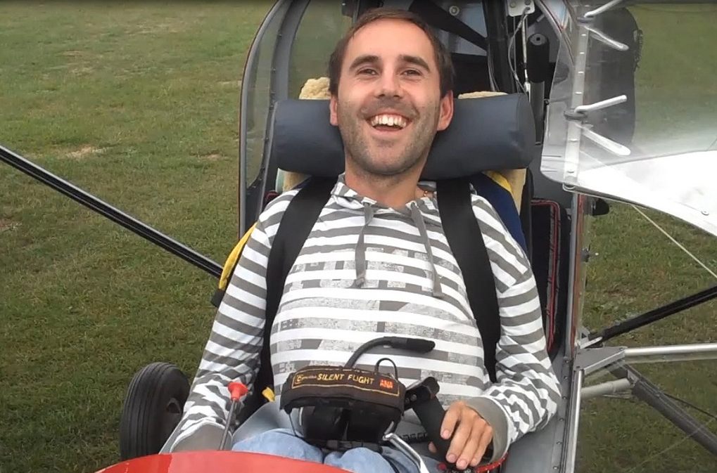 Martyn Sibley grinning after flying over Stonehenge