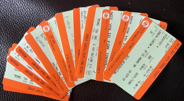Collection of train tickets