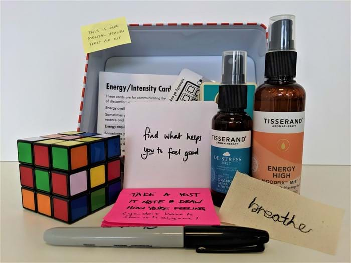 Sigma's mental health first aid kit with items to aid mental stress etc